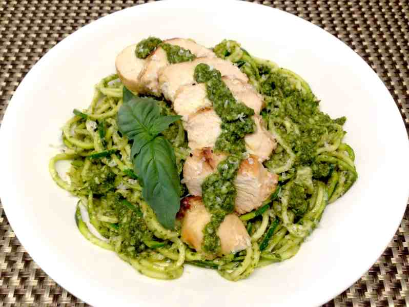 Grilled Lemon Chicken Pesto over Zoodles Keto and Low Carb