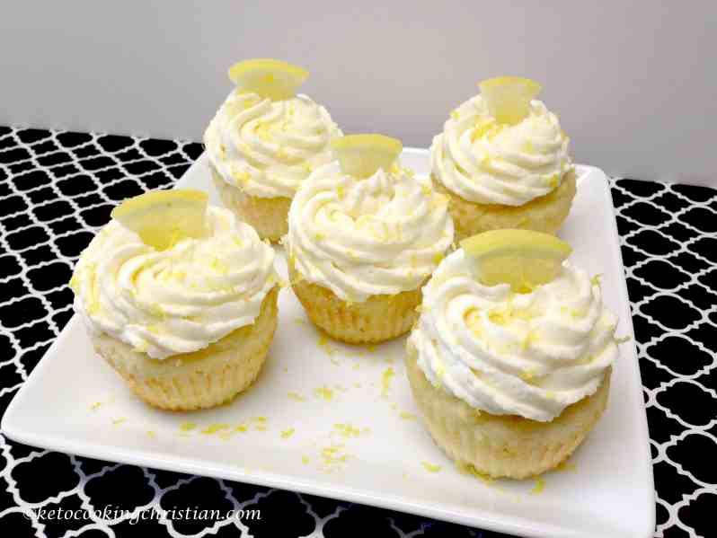 lemon cupcakes with creamy lemon frosting keto and low carb