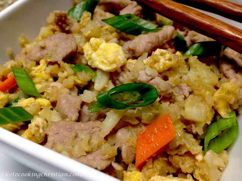 pork fried cauliflower rice keto and low carb