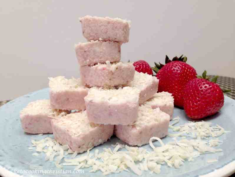 strawberry coconut fat bombs keto and low carb