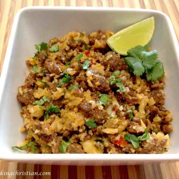 chorizo pepper cauliflower rice keto low carb
