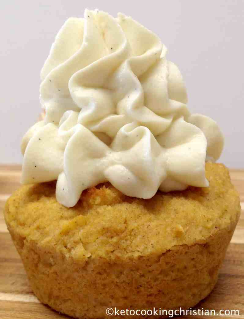 Pumpkin Cupcakes with Vanilla Cream Cheese Frosting - Keto, Low Carb & Gluten Free