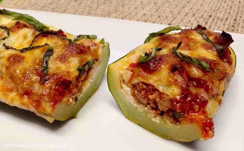 Lasagna Stuffed Zucchini Boats - Keto and Low Carb