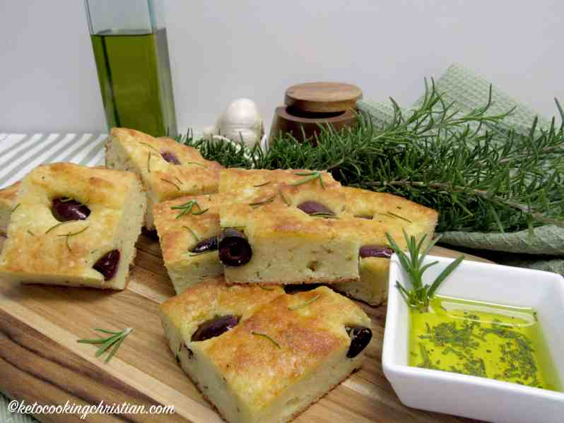 Rosemary and Kalamata Olive Focaccia - Keto, Low Carb & Gluten Free