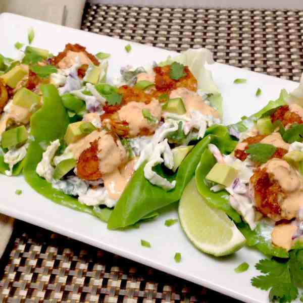 Spicy Shrimp Lettuce Wraps with Bang Bang Sauce - Keto and Low Carb
