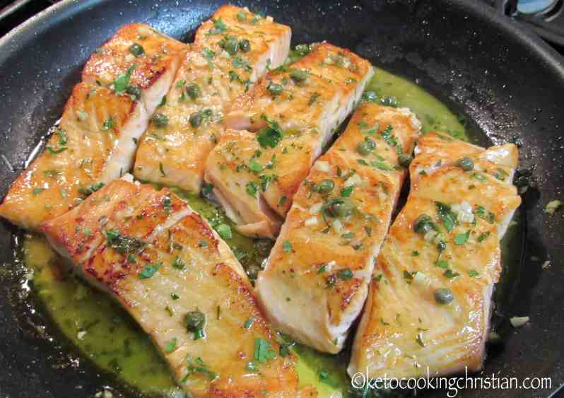 Easy Skillet Salmon Piccata with Spinach - Keto and Low Carb