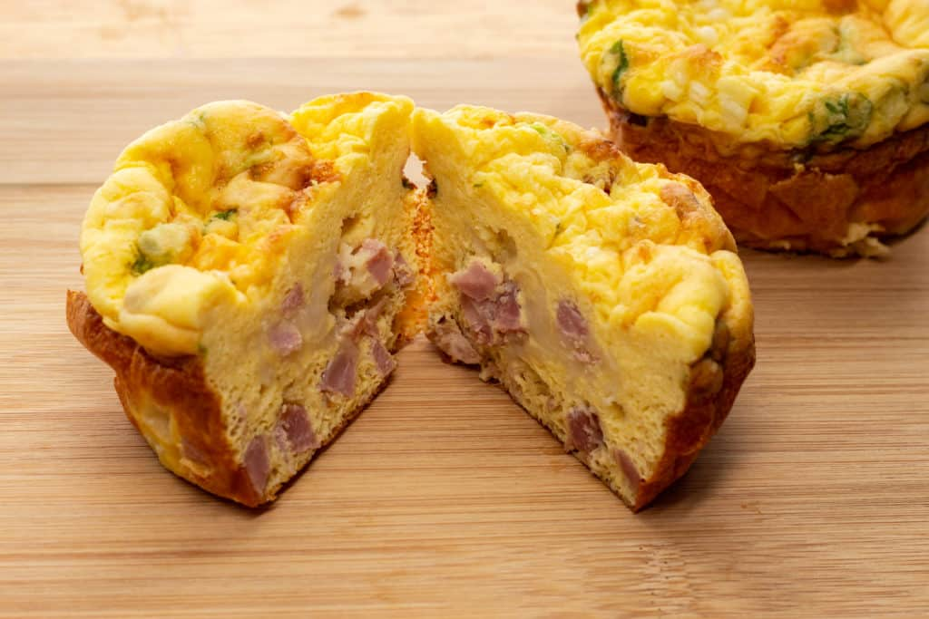 Keto friendly ham and cheese egg muffins.