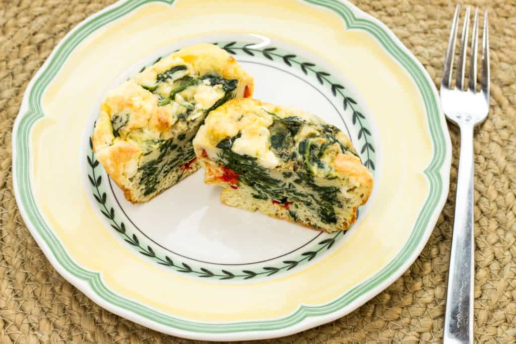 Keto-friendly spinach, feta, bell pepper egg cups.