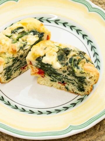 Keto-friendly spinach, feta, bell pepper egg cups.