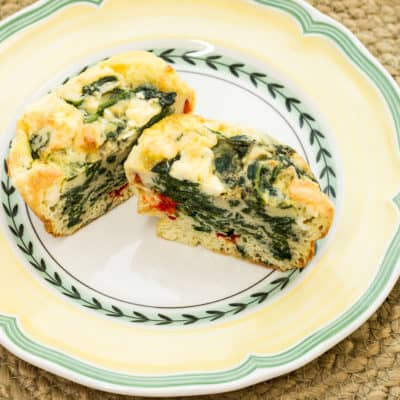 Spinach, Feta, and Bell Pepper Egg Cups
