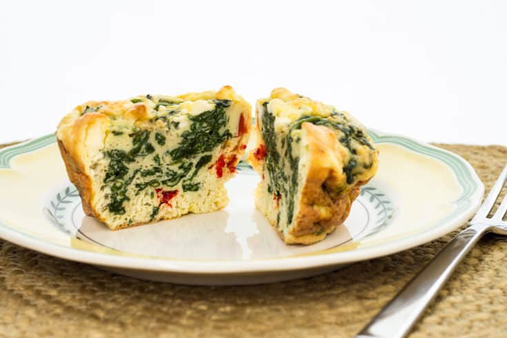Keto-friendly spinach, feta, red bell pepper egg cups