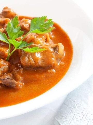 keto beef goulash with sauerkraut in a bowl