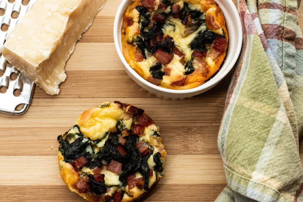 Melt-in-your-mouth light and full of savory goodness, these keto Ham, Spinach & Cheese Custards are perfect for breakfast or brunch.