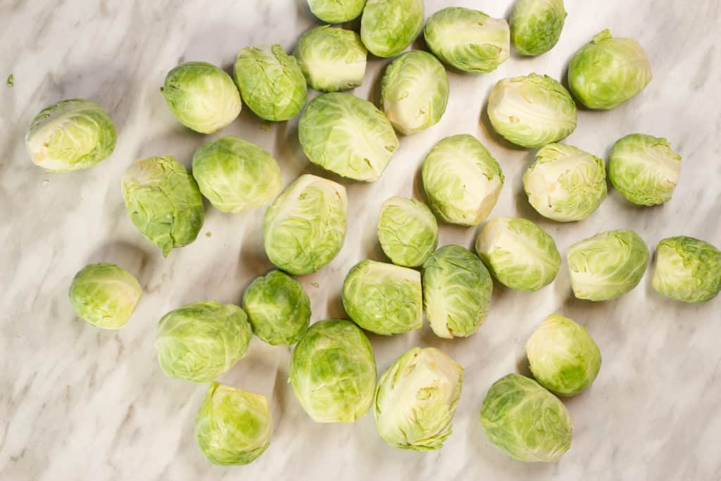 Trimmed and peeled brussels sprouts.