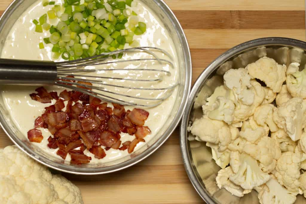 cauliflower no-mac n cheese adding bacon and green onion