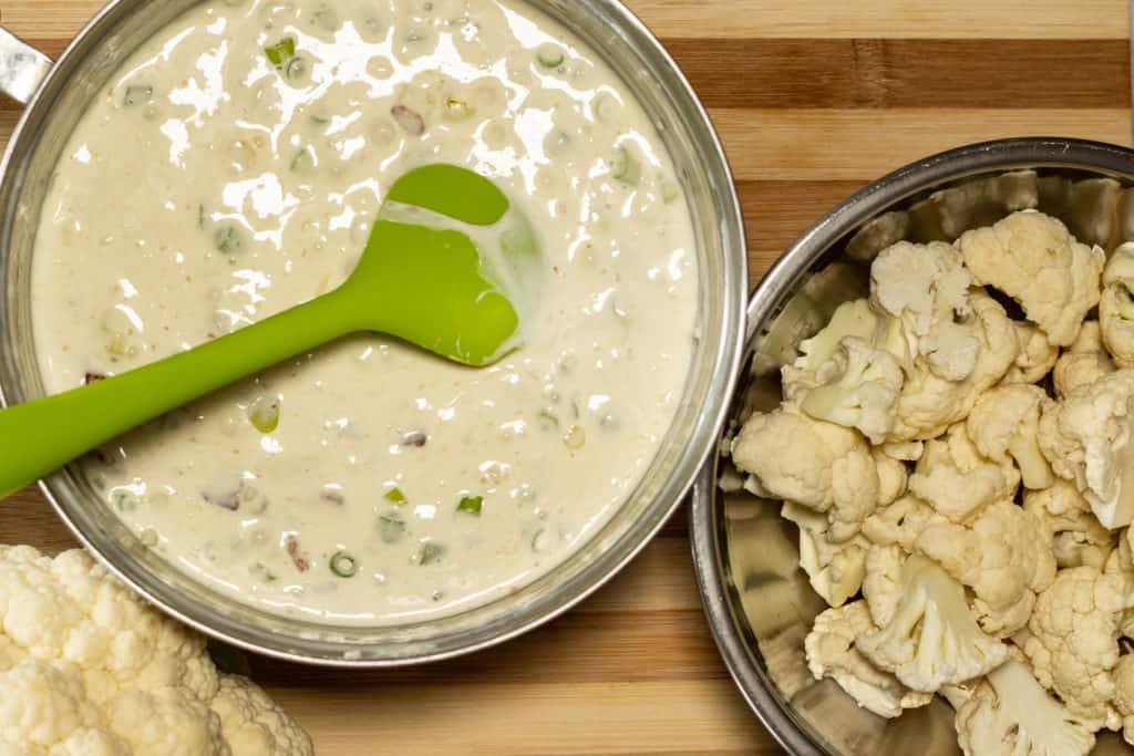 cauliflower no-mac n cheese mixed together