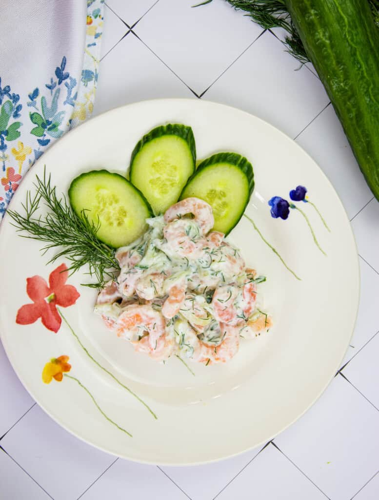 keto shrimp salad with dill and cucumber on a plate
