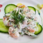 creamy keto shrimp salad with dill and cucumber up close