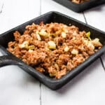 keto corned beef hash on a black square serving dish
