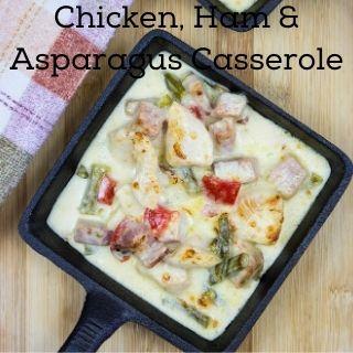 keto chicken, ham & asparagus casserole in a square dish
