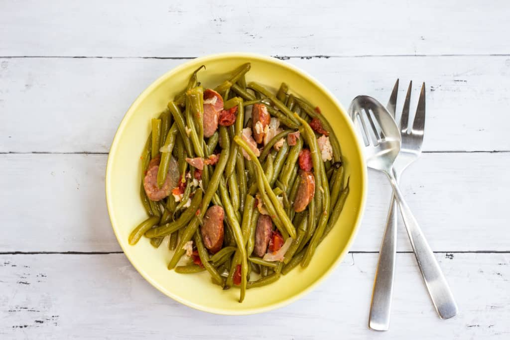 Keto friendly Southern Style Green Beans in a serving bowl.