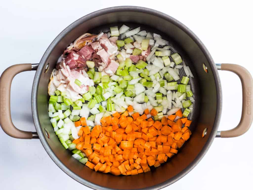 sautee the bacon, onions, celery, and carrots in a pot