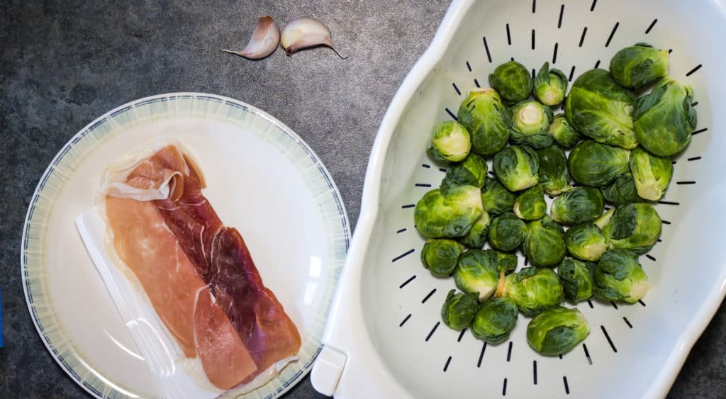 Brussels sprouts, prosciutto, garlic, and olive oil