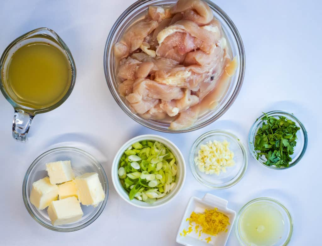 prepped ingredients for chicken scampi.