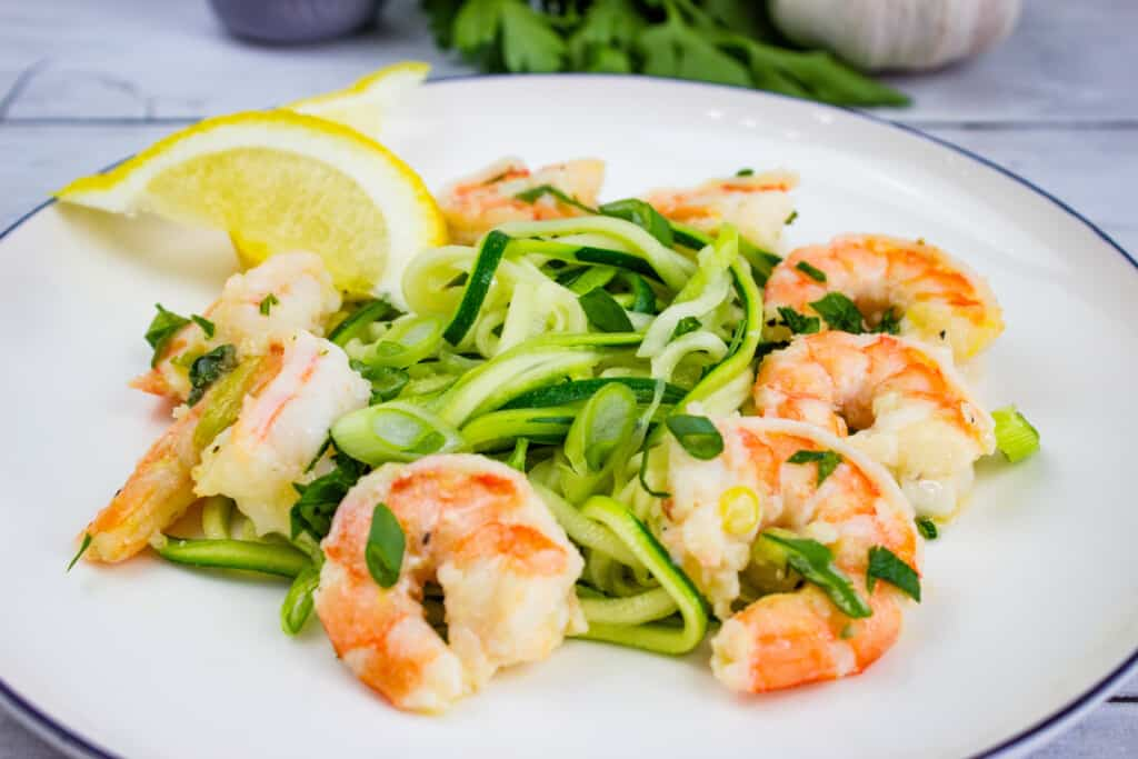 keto shrimp scampi on a bed of zoodles