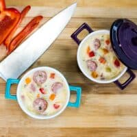 Smoked Sausage Chowder in colorful mini casserole dishes.