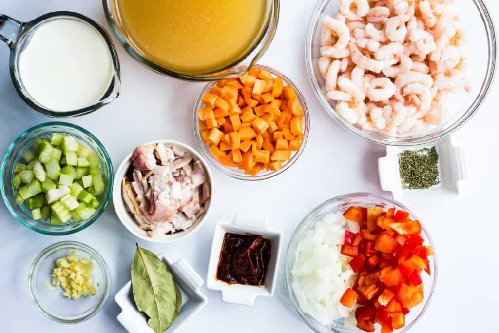 ingredients for shrimp chowder with chipotle