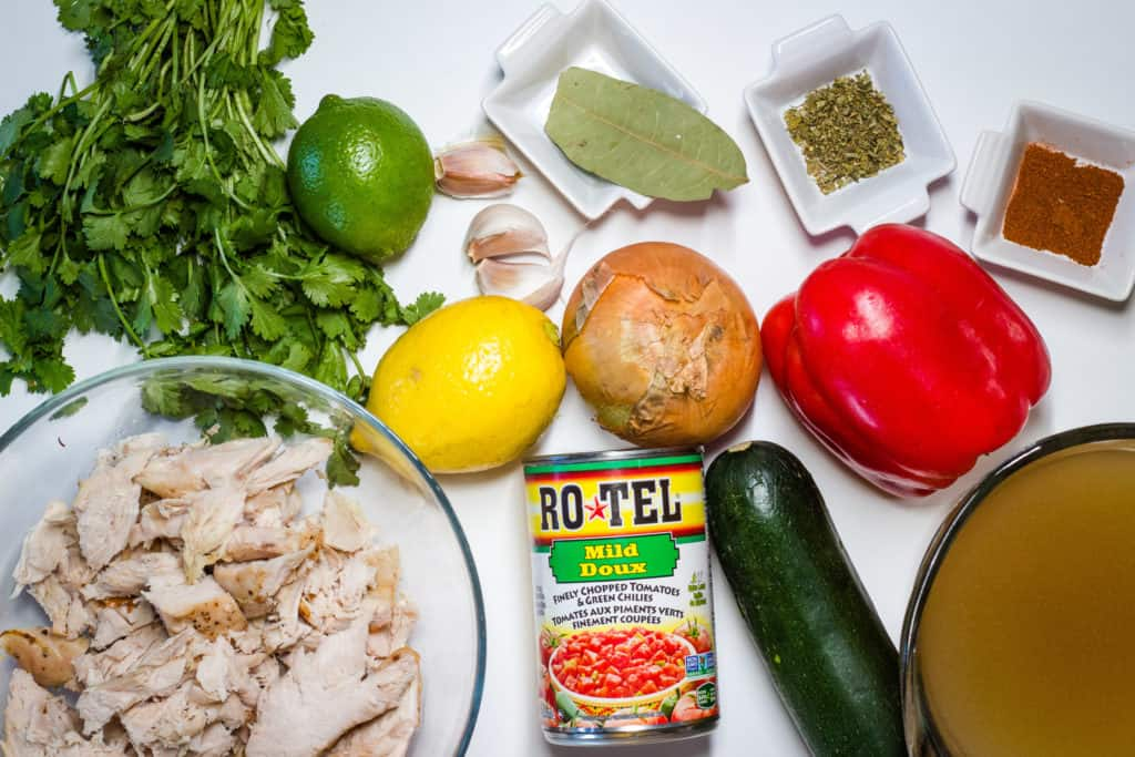 Mexican Turkey Soup ingredients on a table