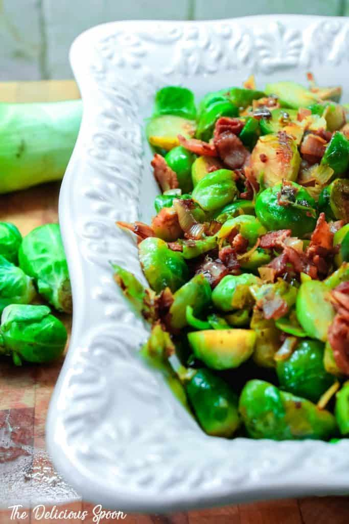 keto brussles sprouts with bacon and leeks