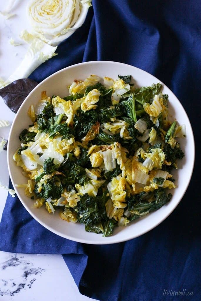roasted kale and nappa cabbage