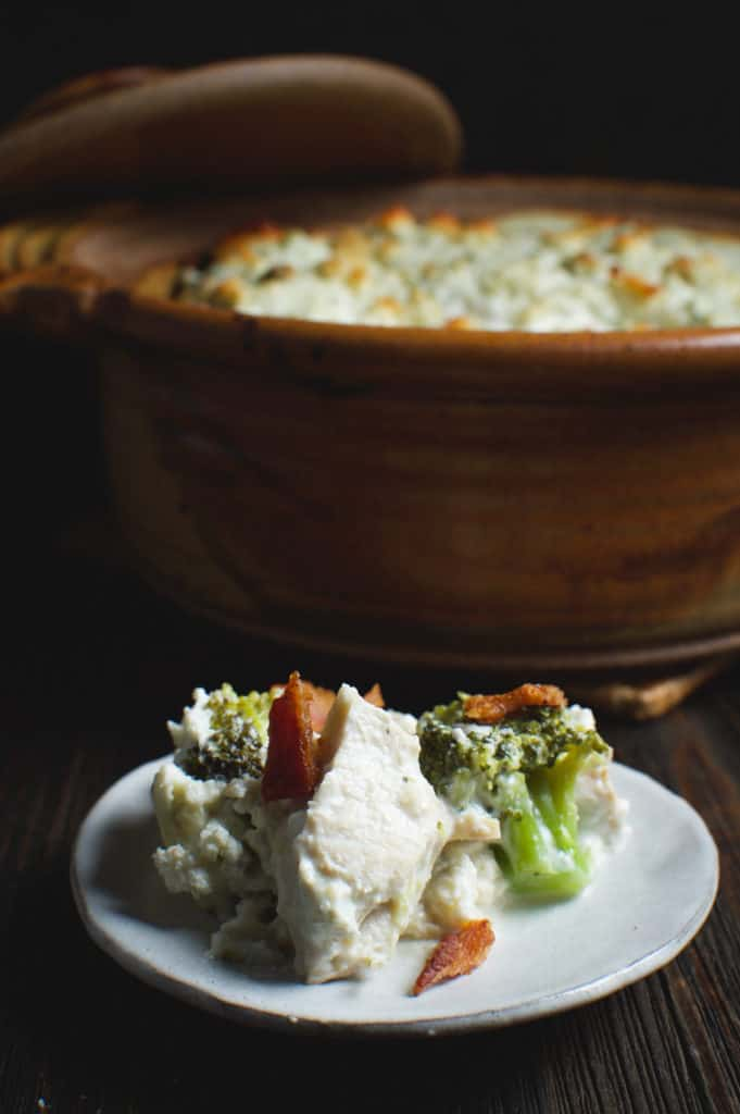 turkey casserole with bacon and blue cheese on a plate