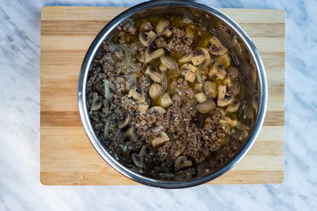 Cooked keto beef stroganoff recipe in instant pot