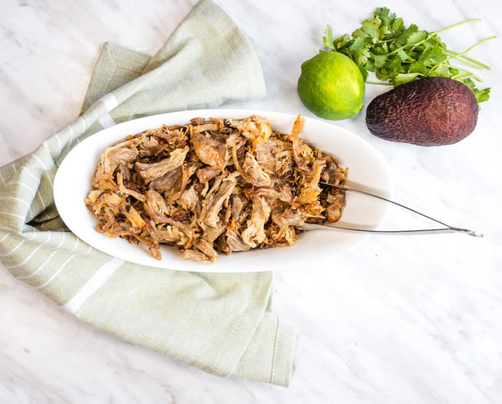 keto al pastor pork carnitas in an oval serving dish