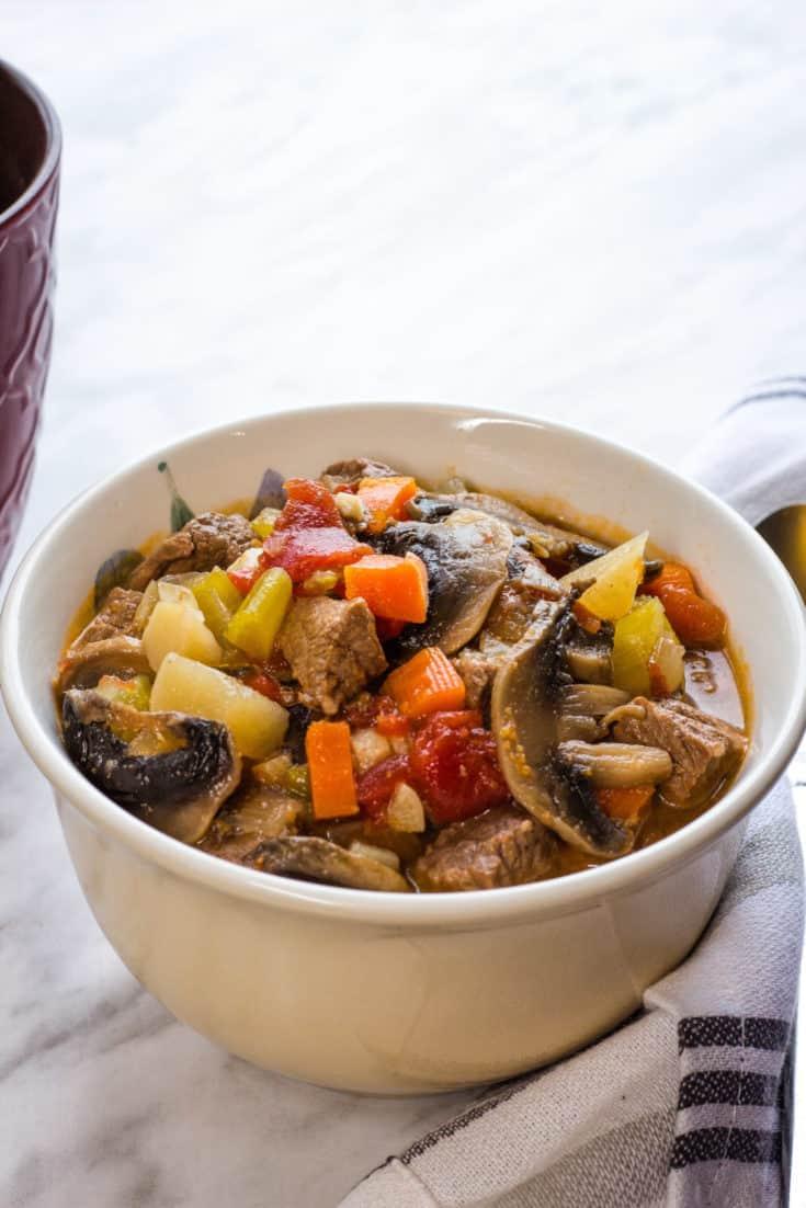 keto beef pot roast soup in a bowl