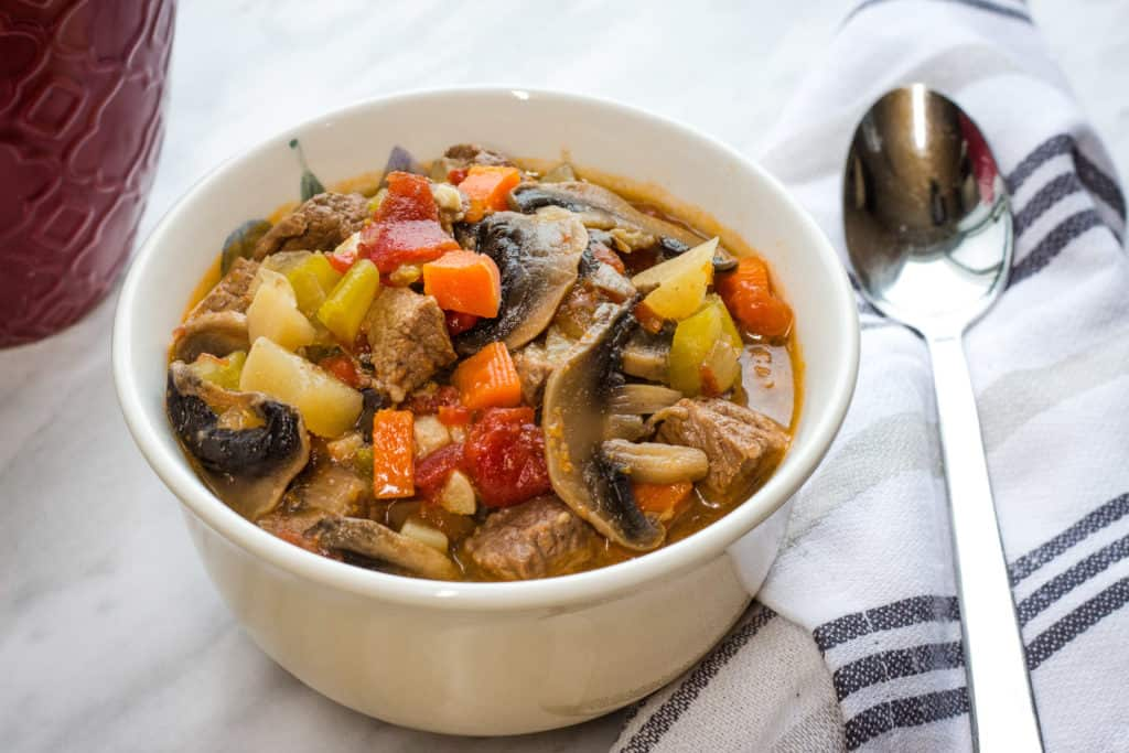 keto beef pot roast soup finished in a bowl