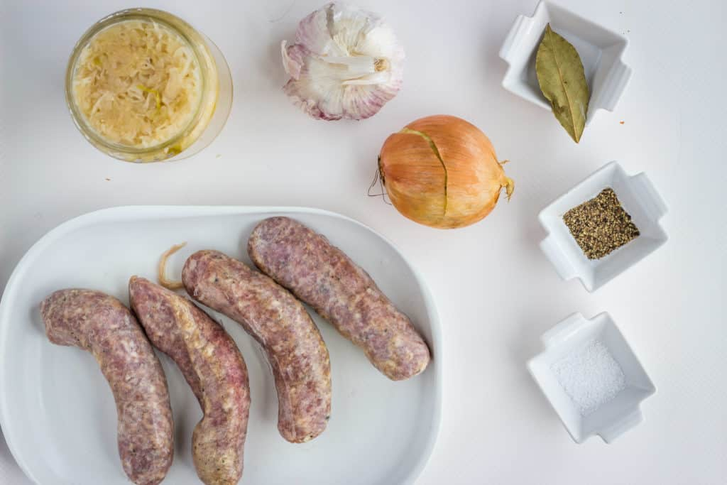 ingredients to make Instant Pot Sauerkraut & Sausage