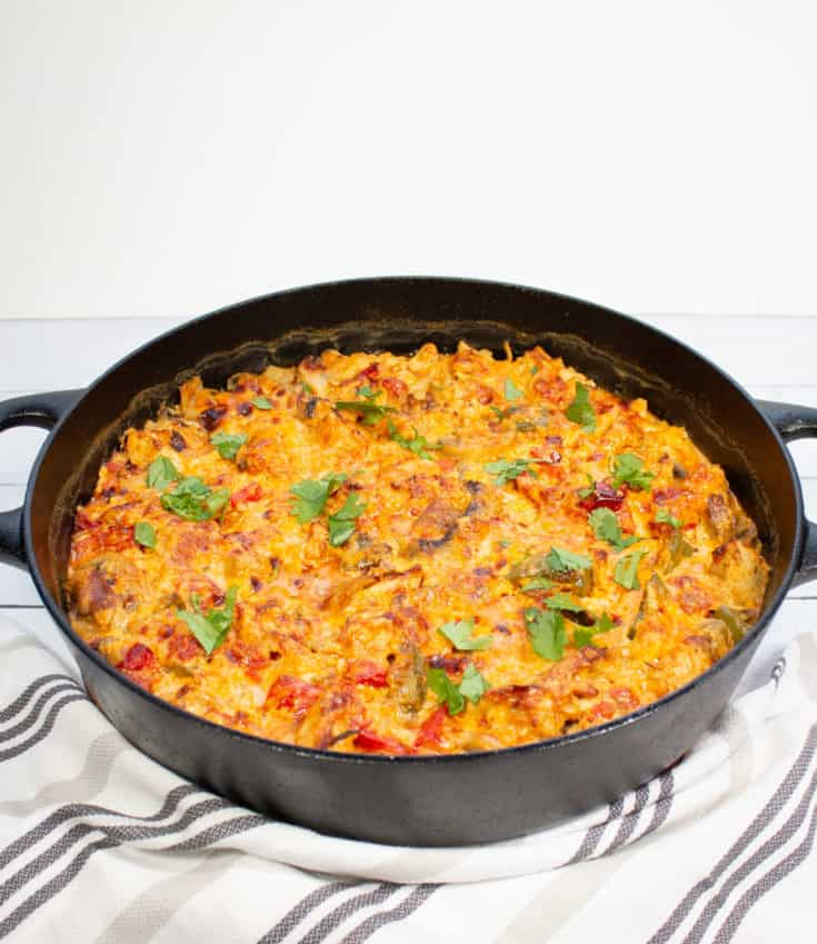 keto king ranch chicken in a casserole dish
