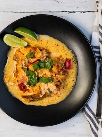 keto king ranch casserole served with lime wedges