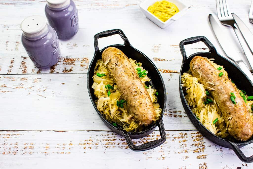 instant pot sauerkraut & sausage in small dishes