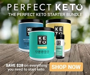 The four items in the Perfect Keto Starter Bundle with a Save $28 text overlay