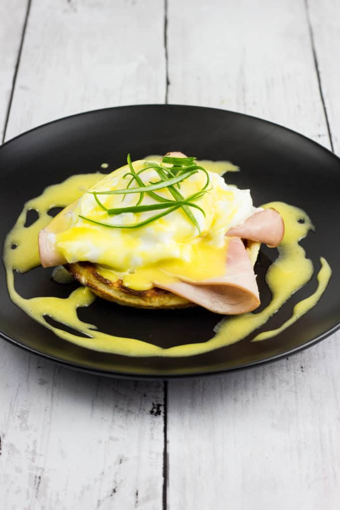 keto eggs benedict chaffle on a plate