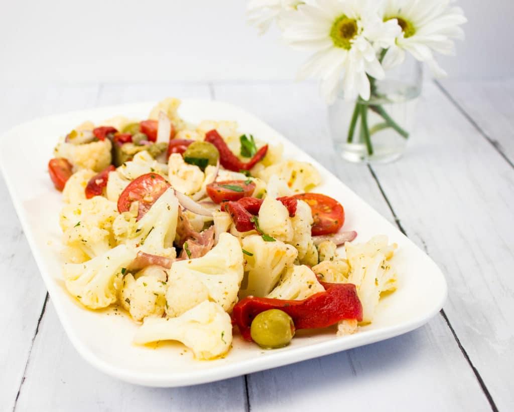 keto Antipasto salad on a serving dish