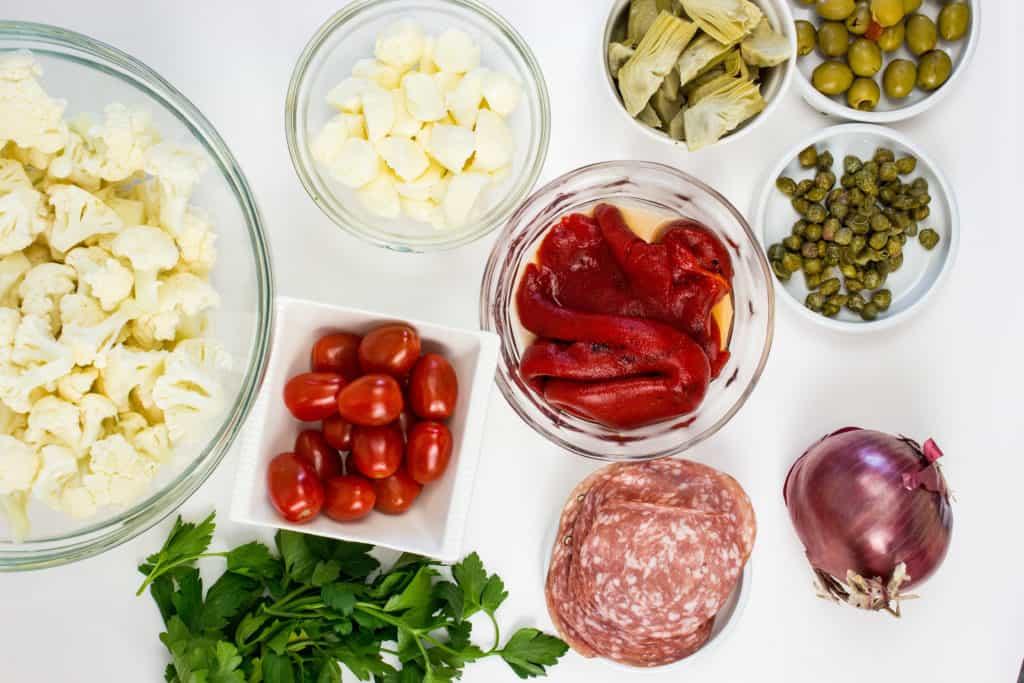keto cauliflower antipasto salad ingredients