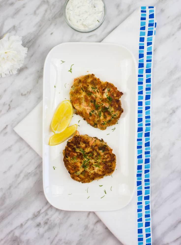 keto salmon patties on a platter