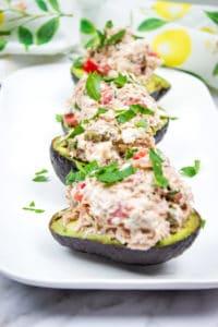 mediterranean tuna salad on a serving plate