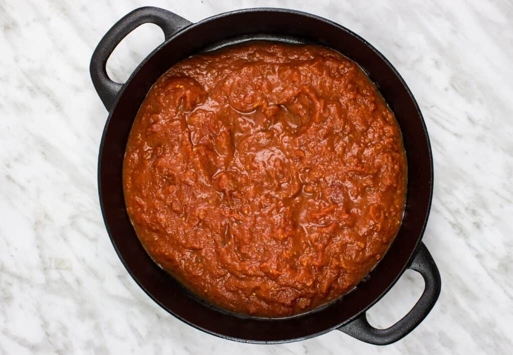 oven roasted tomato sauce in an oven safe dish
